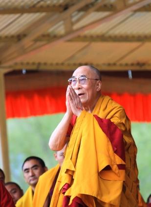 LEH, INDIA - AUGUST 5, 2012: His Holiness the 14th Dalai Lama gi