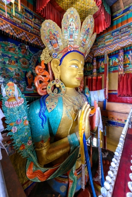 Statue depicting Maitreya at the Thikse Monastery in Ladakh, Ind