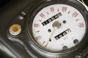 Speedometer of classic old military motorbike with retro style.