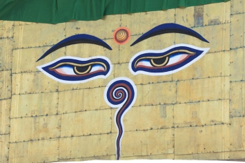 The Buddha's eyes on Swayambhunath Stupa.